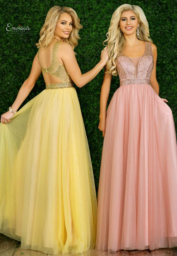 Beaded Tulle Lt. Yellow,Dusty Rose E1448