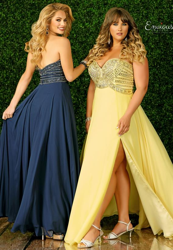 Beaded Chiffon Yellow,Navy E1467