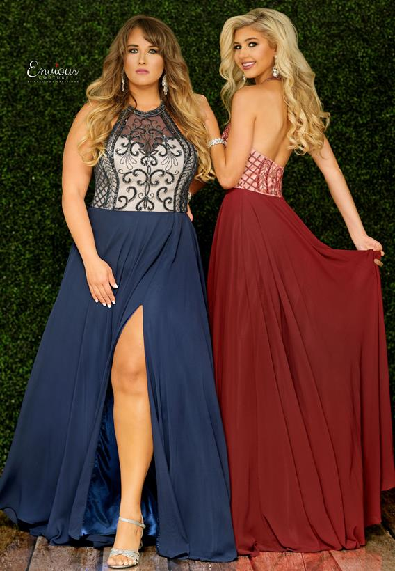 Beaded Tulle Maroon,Navy E1487