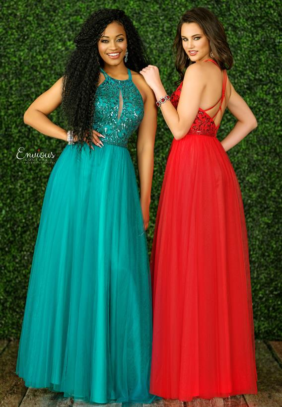 Beaded Tulle Red,Teal E1508