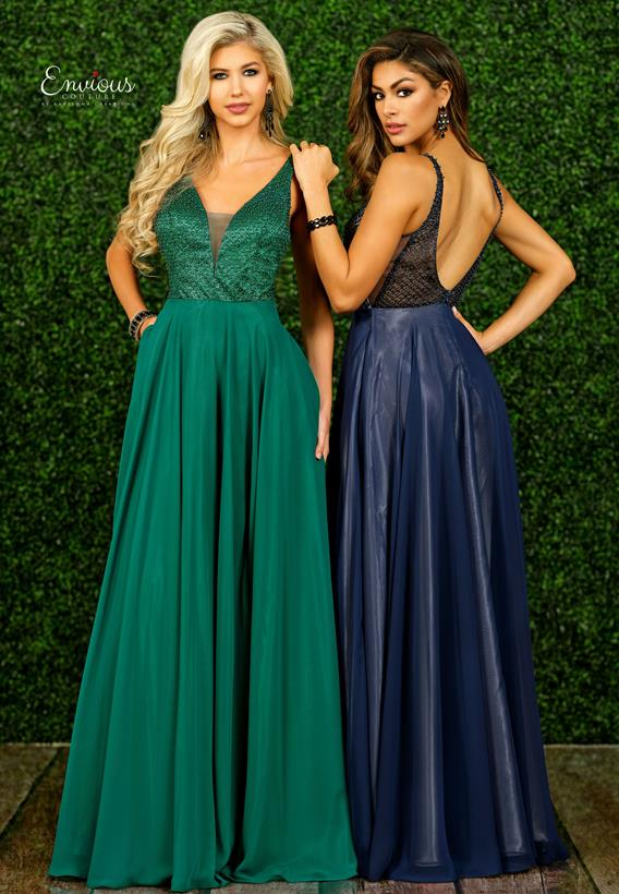 Beaded Tulle/Chiffon Navy,Green E1515