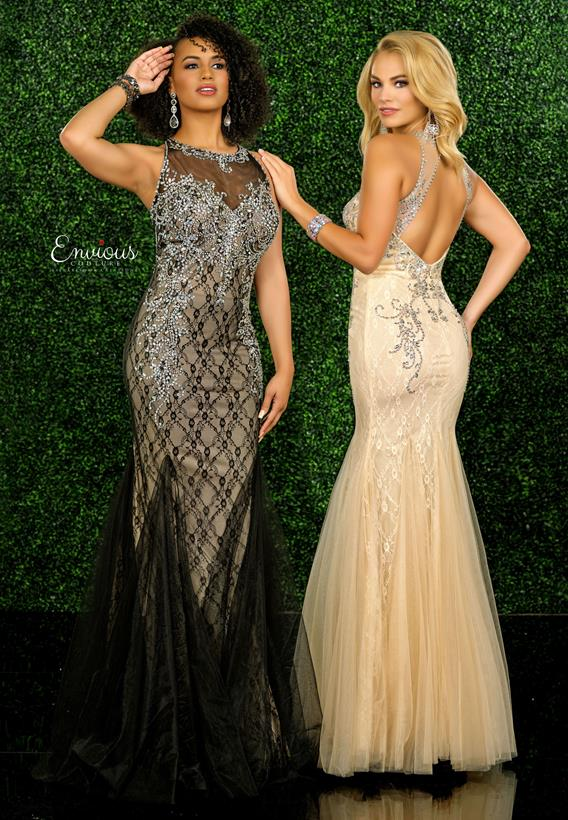 Beaded Tulle Nude,Black,Nude E1554