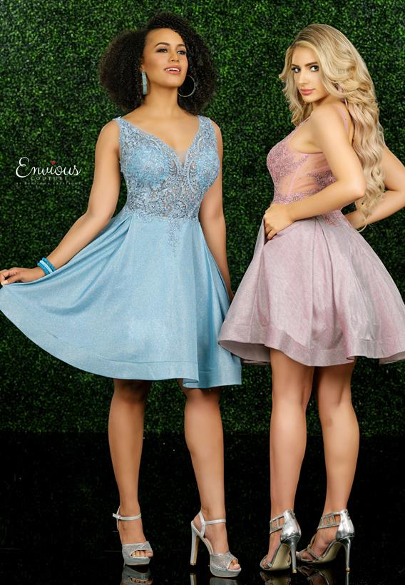 Beaded Applique/Shimmer Jersey Dusty Rose,Sky Blue E1574