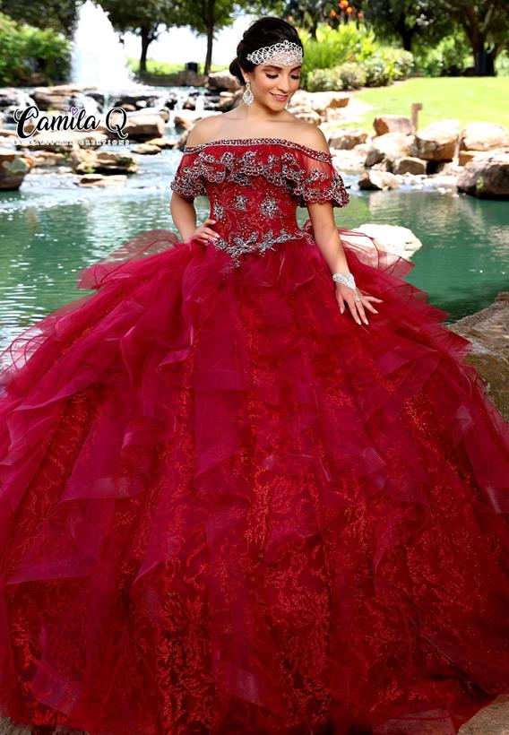 Beaded Applique/Glitter Tulle Red,Burgundy Q1010