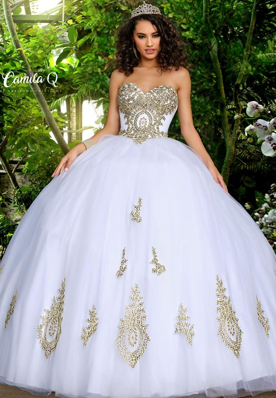 Tulle Appliqué White,Gold,Red,Gold Q17010
