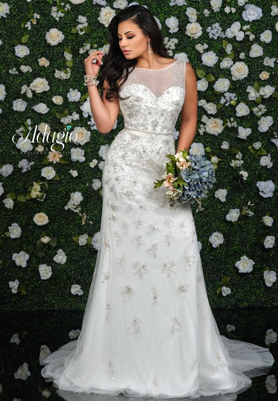 Beaded Applique Tulle Ivory,White W9353